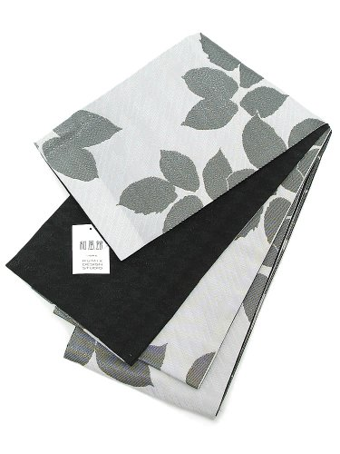 [ 京都きもの町 ] 和風館 半幅帯 浴衣帯 白色 黒色リーフ×ブラック千鳥格子
