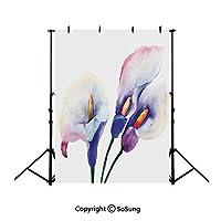 背景布 撮影用 水彩花、白紫背景シート 厚地 不透明 プロ スタジオ背景スクリーンシート 写真、ビデオとテレビに対応 ポリエステル サイズ150*210cm