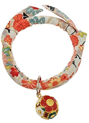 Protagonist 首輪 アクセサリー ちりめん 猫 犬 ネックレス 鈴 銅製 琺瑯質 調節可能 花柄 和...