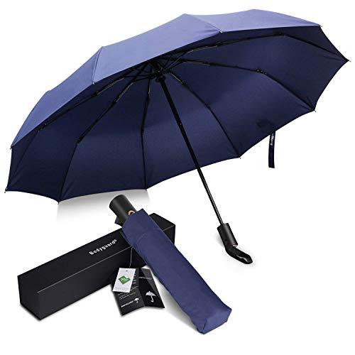 Bodyguard 折りたたみ傘 Teflon加工 超撥水 210Tファブリック 頑丈な10本骨 高強度グラスファイバー 耐強風 ワンタッチ 自動開閉 晴雨兼用 傘 メンズ シンプル 118cm 収納ケース付き (ブルー)