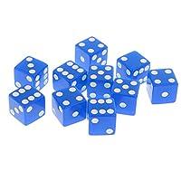 10個 6面 ダイス 数字 サイコロ RPGゲーム用 おもちゃ テーブルゲーム 玩具 全10色可選 - 青