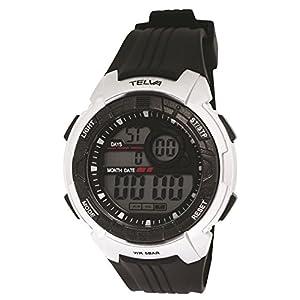 [クレファー]CREPHA 腕時計 デジタル ウレタンベルト 5気圧 防水 シルバー TE-D064-SV メンズ