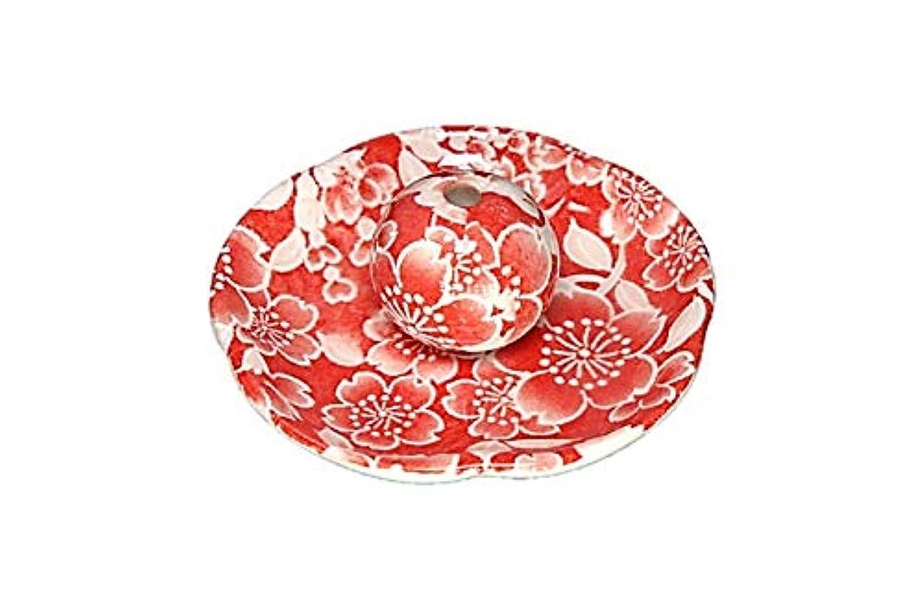 変数南寛大さ桜友禅 赤 花形香皿 お香立て お香たて 日本製 ACSWEBSHOPオリジナル