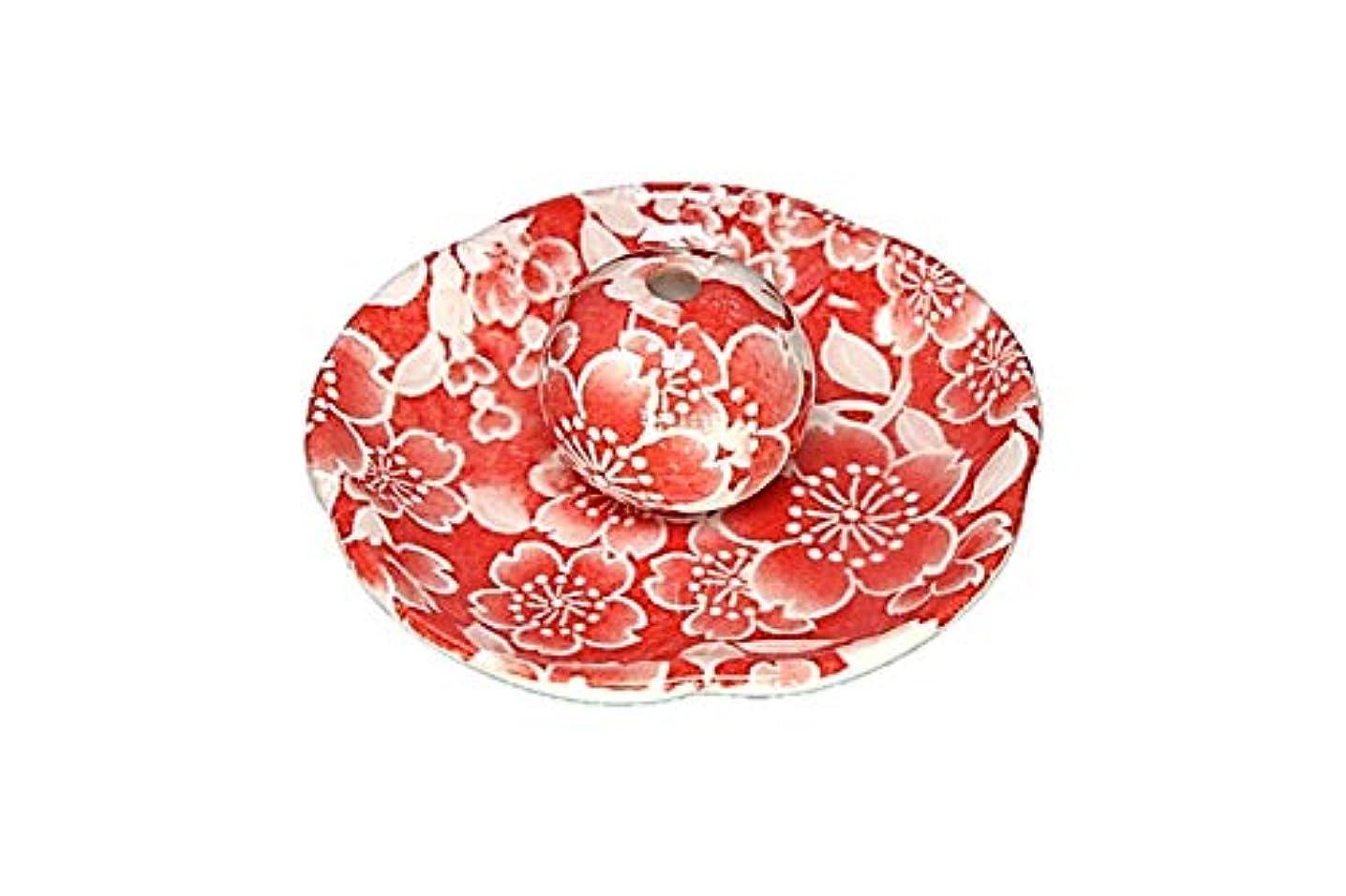 無駄に経済である桜友禅 赤 花形香皿 お香立て お香たて 日本製 ACSWEBSHOPオリジナル