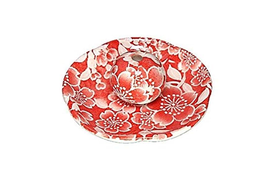 追加する世代ファブリック桜友禅 赤 花形香皿 お香立て お香たて 日本製 ACSWEBSHOPオリジナル