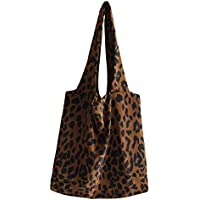 COAFIT Women Tote Creative Leopard Corduroy Shoulder Bag Shopping Bag