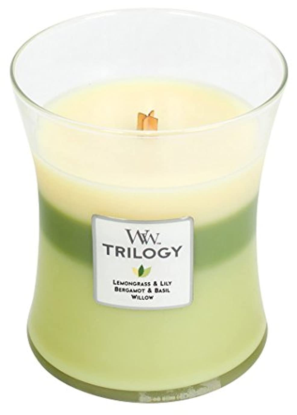 聞く読みやすい偏差Woodwick Trilogy Garden Oasis , 3 - in - 1 Highly Scented Candle、クラシック砂時計Jar、Medium 4インチ、9.7 Oz