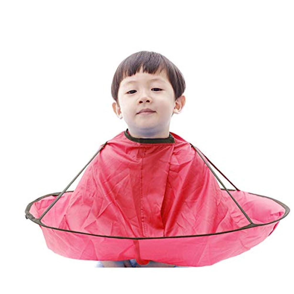 嬉しいです種類不完全な子供 散髪ケープ ヘアエプロン 散髪マント 刈布 ケープ 散髪道具 防水 (赤)