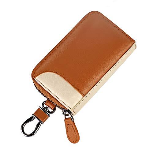 キーケース メンズ カードキーケース レザー スマートキーケース 車キーケース 本革 6連 2つ外側ポケット カード入れ カラビナ付き 大容量 (キャメル×ベージュ)