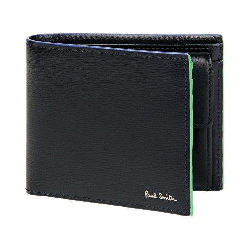 ポールスミス Paul Smith 正規品 カラードエッジ 本革 二つ折り 財布 専用化粧箱付 レザー ウォレット 札入れ 小銭入れ (ブラック)