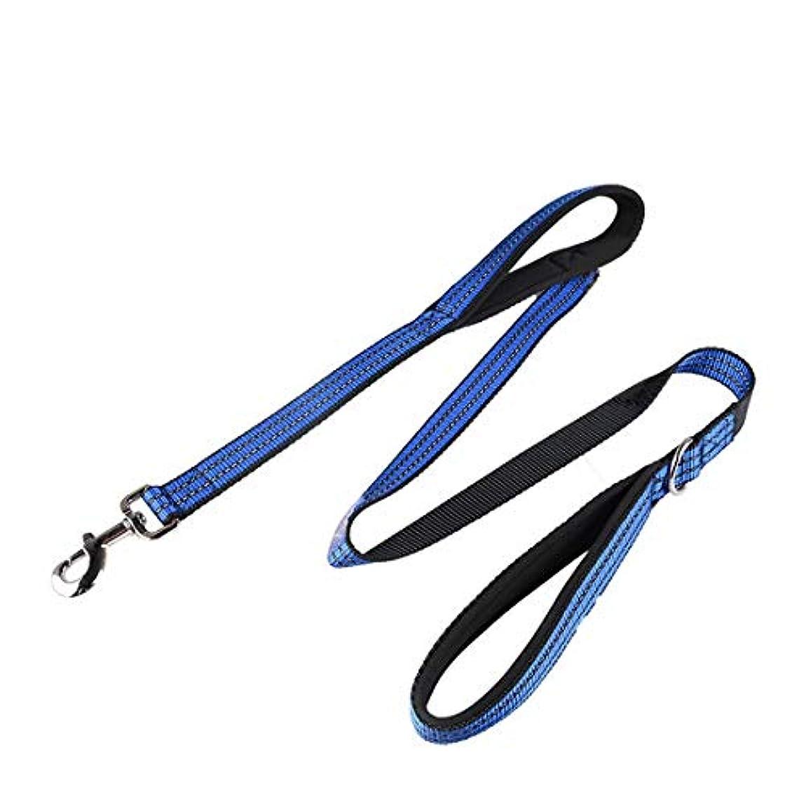 インポートハリケーンペルセウスKoloeplf ペットダブルハンドル牽引ロープダイビング綿肥厚反射犬用ロープ (Color : Blue)