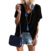 ORANDESIGNE Women's Tops Short Sleeve V-Neck Shirts Summer Loose Casual Tee T-Shirt