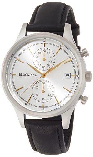 [ブルッキアーナ]BROOKIANA クロノグラフ デイトカレンダー シルバー×ブラックレザー BA2306-SGLBK メンズ 腕時計