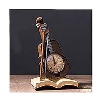デスクの装飾クリエイティブバイオリン時計デスクトップ装飾装飾品家庭用家具リビングルームの工芸ギフトオフィス装飾 (Color : ブラック)