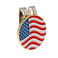 Baoblaze 金属 ゴルフ用 アメリカ旗のデザイン ハットクリップ付き マグネット 装飾小物 ボールマーカー