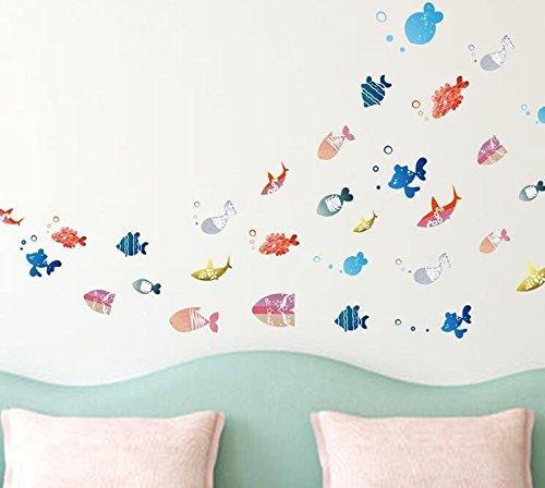 ウォール ステッカー Wall stickers おしゃれな マリン風 おさかな 熱帯魚 水族館風 カラフル 貼ってはがせる 66*51cm