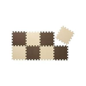 CBジャパン ジョイントマット 厚め 12mm 8枚組 カラーマット ブラウン×ベージュ (チョコレート)