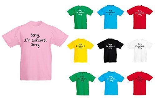 (ごめんなさい。私は不器用です。ごめんなさい。) Sorry. I'm Awkward. Sorry, 子供用 プリント Tシャツ