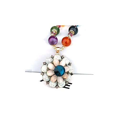 ゴージャスなジュエリーダイヤモンドアクセントホワイトターコイズオパールクリスタルボヘミア花カラービーズネックレス
