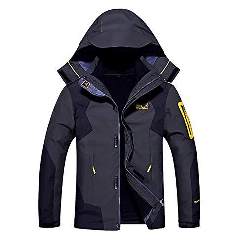 メンズ アウトドア ジャケット 裏フリース 3in1 コート 防水防風 アノラック ウンテンジャケット スキーウェア 登山服 黑灰 L