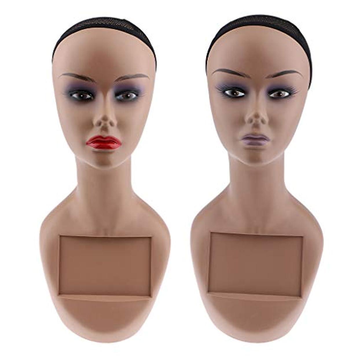 アプト快い遅滞Perfeclan マネキンヘッド ヘッドモデル 女性 かつら 帽子 スカーフ ジュエリー ディスプレイ 2個セット
