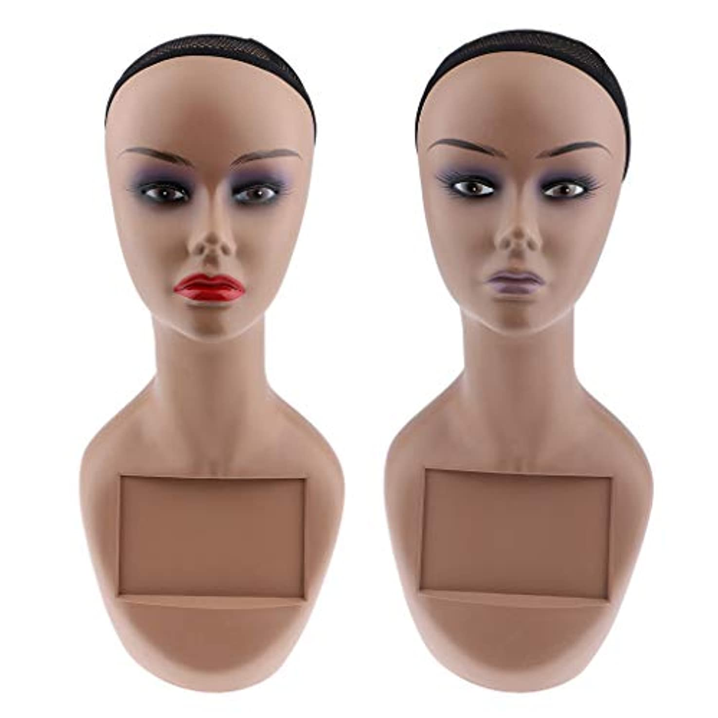 豊かな削る慈悲深いPerfeclan マネキンヘッド ヘッドモデル 女性 かつら 帽子 スカーフ ジュエリー ディスプレイ 2個セット