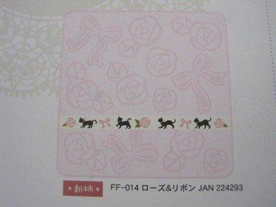 黒猫ミイ 刺繍ミニタオル ローズ&リボン