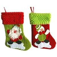 クリスマス サンタ 雪だるま 可愛いクリスマス用靴下2枚セット 【ミニクリスマスカード付き】