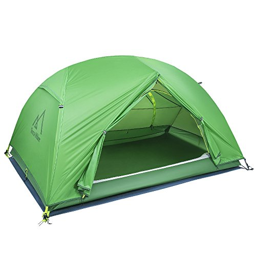 Terra Hiker キャンプ テント 2人用 PU4000 4シーズン用 簡易 軽量 サンシェードテント uvカット 二重層 アウトドア 日本語説明書付き 一年間保証 (light green)
