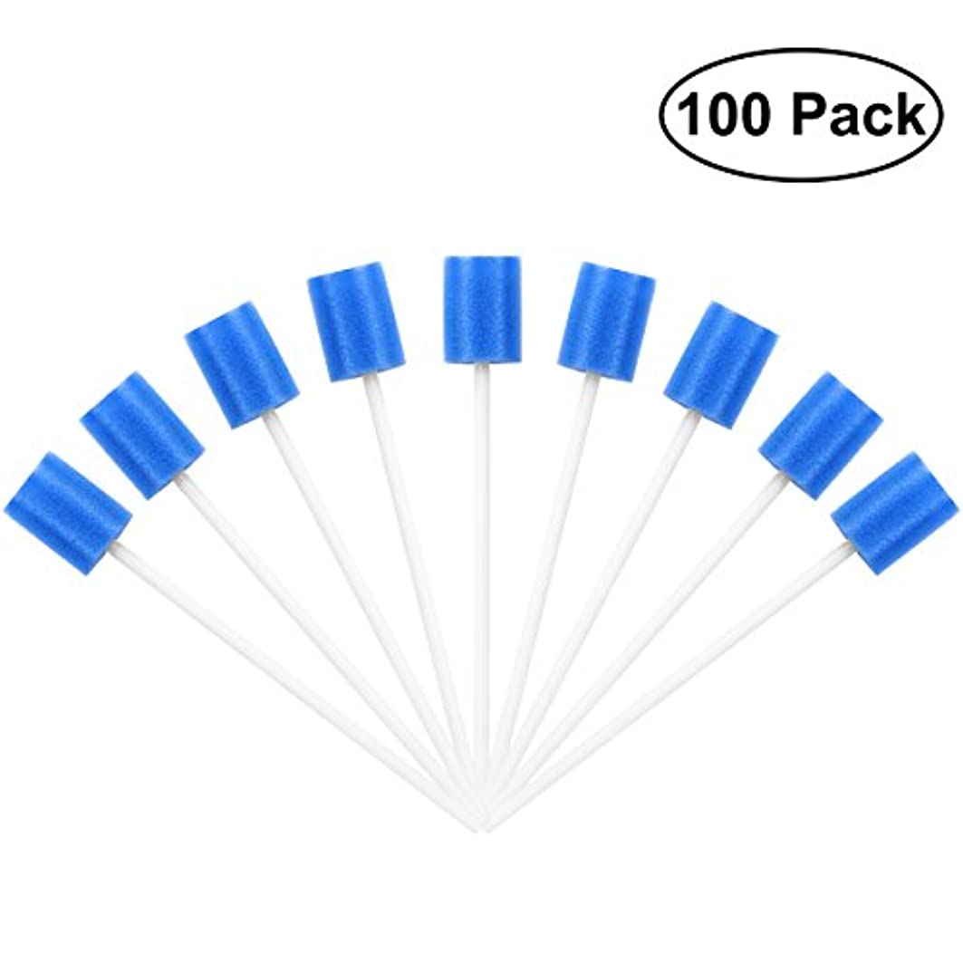 破滅活発バラ色ROSENICE Mouth Sponges Dental Swabs 100Pcs Disposable Oral Care Swabs (Blue)