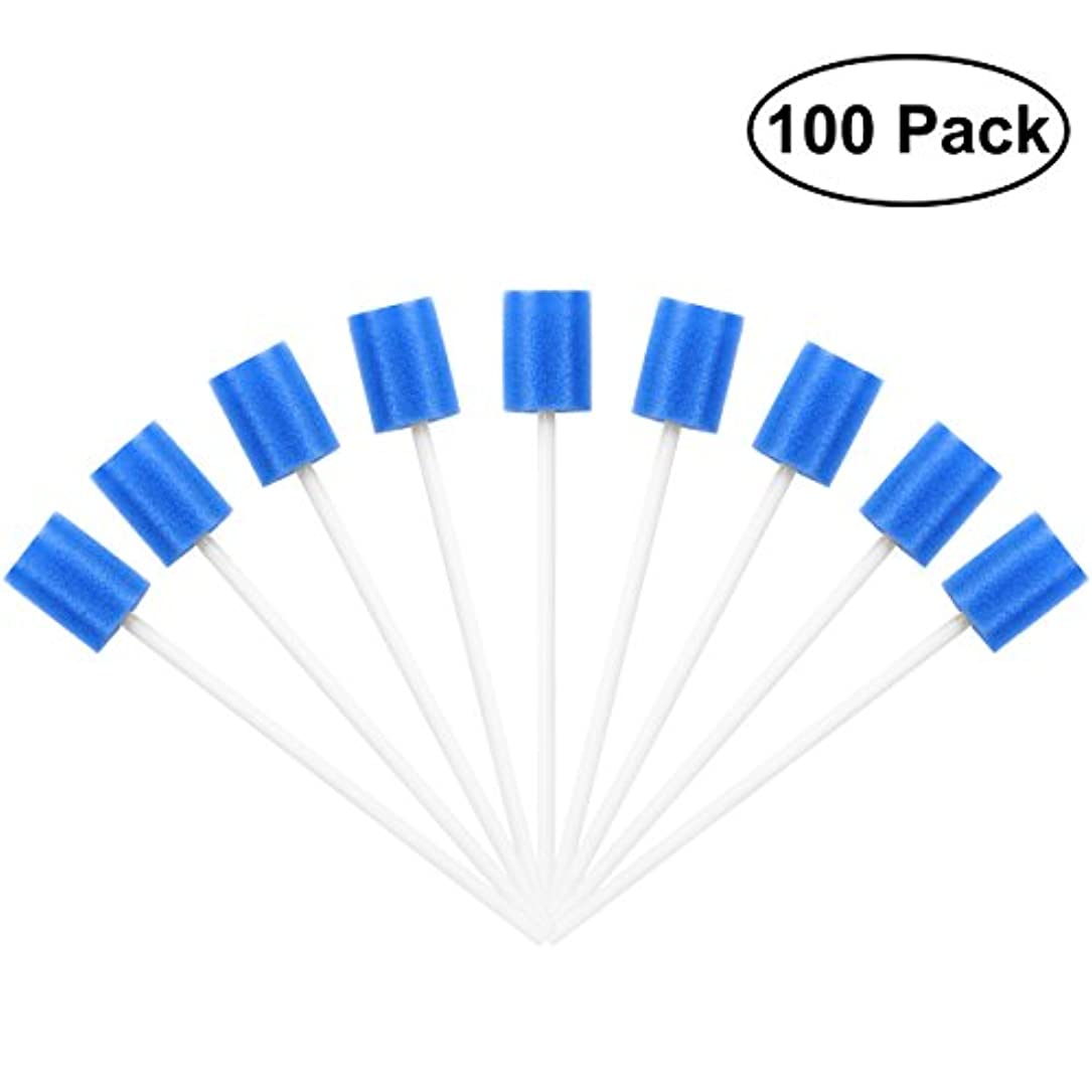 人に関する限り前方へマイルドROSENICE Mouth Sponges Dental Swabs 100Pcs Disposable Oral Care Swabs (Blue)