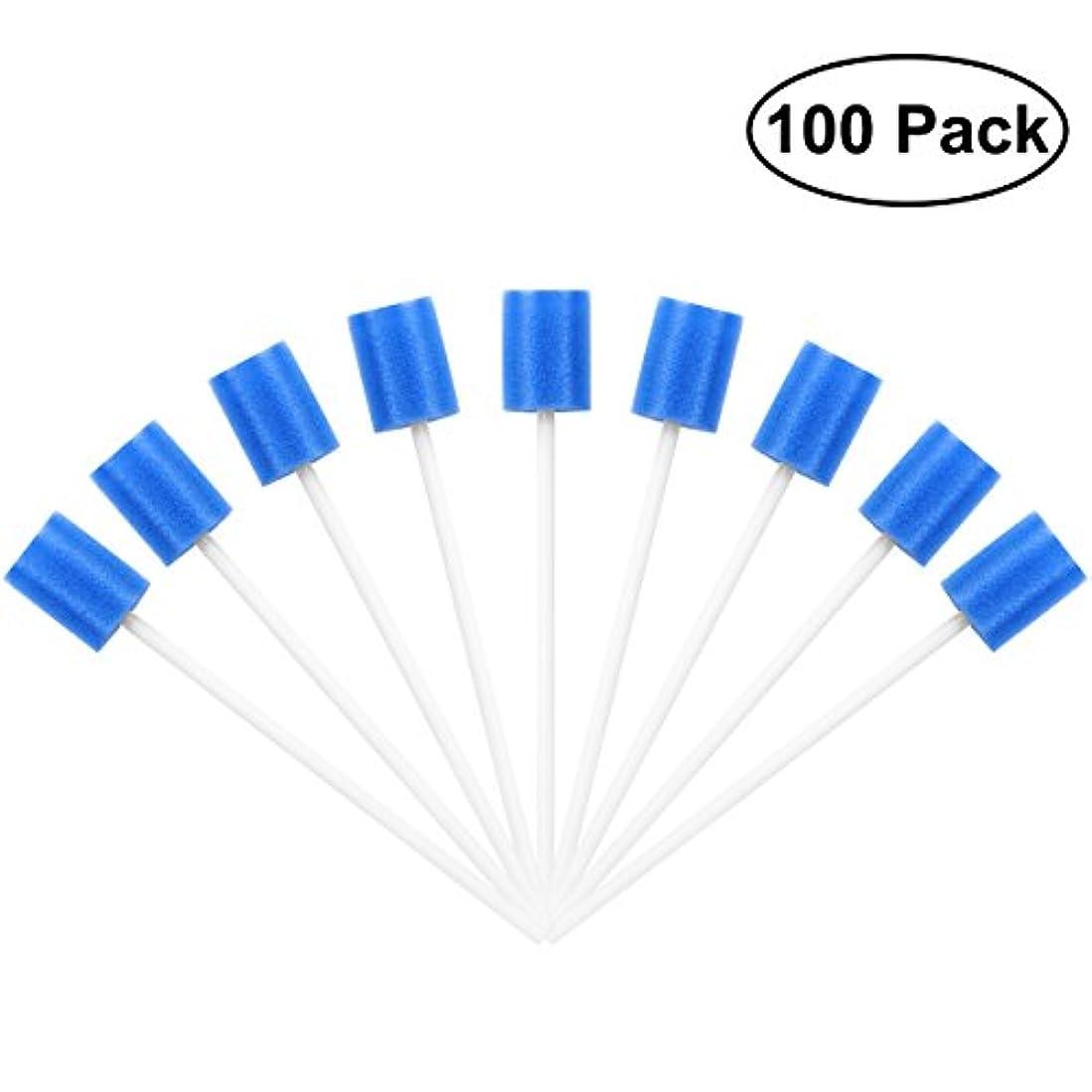 教会バイナリカニROSENICE Mouth Sponges Dental Swabs 100Pcs Disposable Oral Care Swabs (Blue)