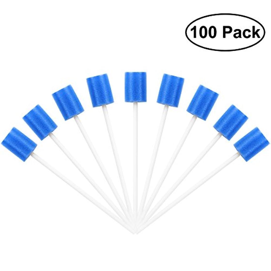 目の前の活性化するどこでもROSENICE Mouth Sponges Dental Swabs 100Pcs Disposable Oral Care Swabs (Blue)