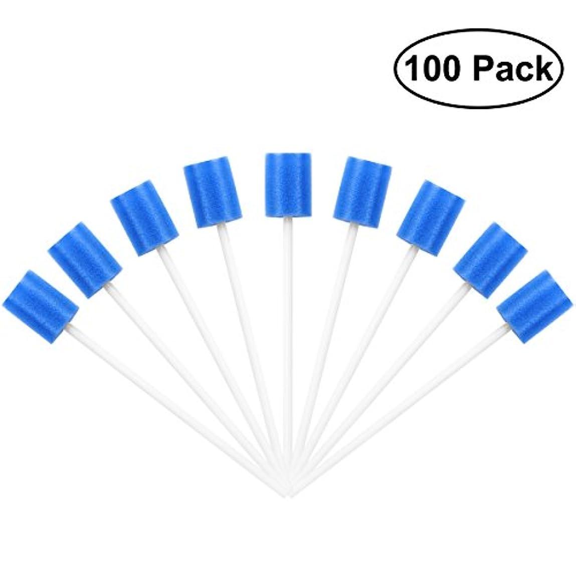 ペースト誘発する曲がったROSENICE Mouth Sponges Dental Swabs 100Pcs Disposable Oral Care Swabs (Blue)