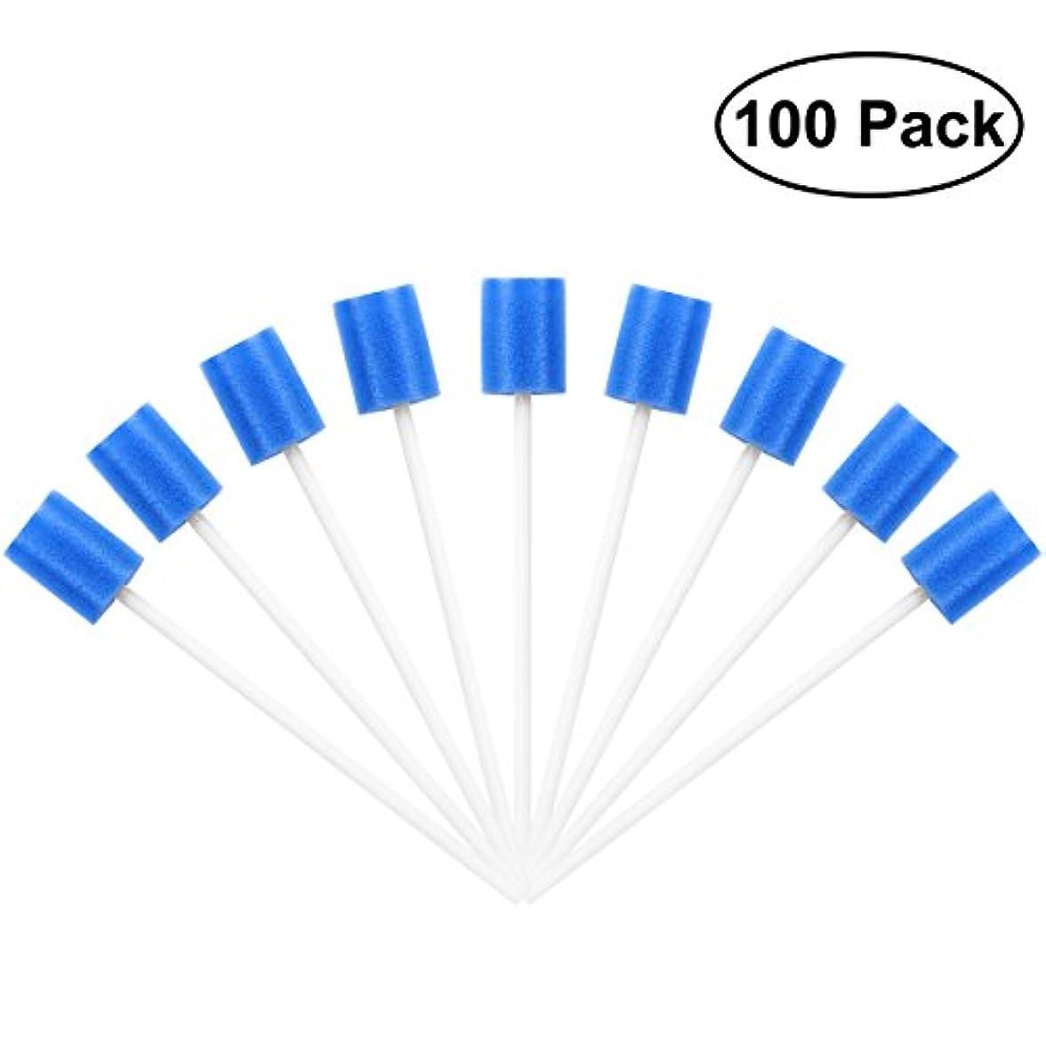 可能混乱させる切り下げROSENICE Mouth Sponges Dental Swabs 100Pcs Disposable Oral Care Swabs (Blue)