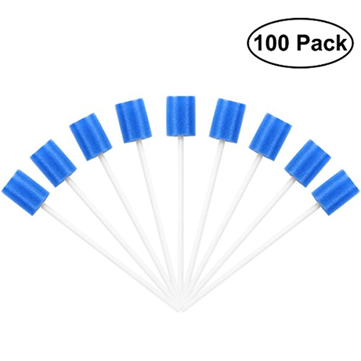 初期の雪の野心ROSENICE Mouth Sponges Dental Swabs 100Pcs Disposable Oral Care Swabs (Blue)