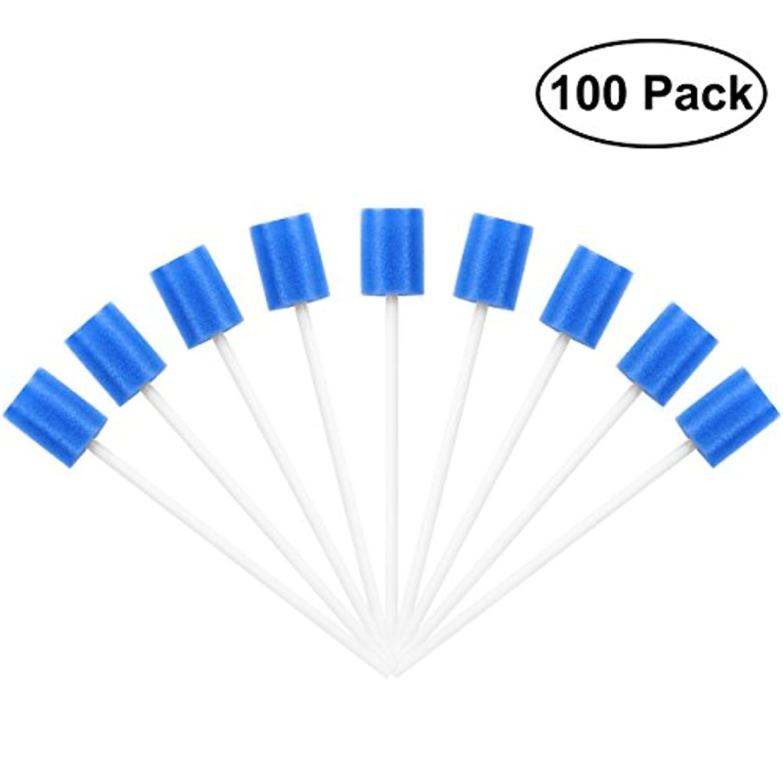 気候欠乏飢饉ROSENICE Mouth Sponges Dental Swabs 100Pcs Disposable Oral Care Swabs (Blue)