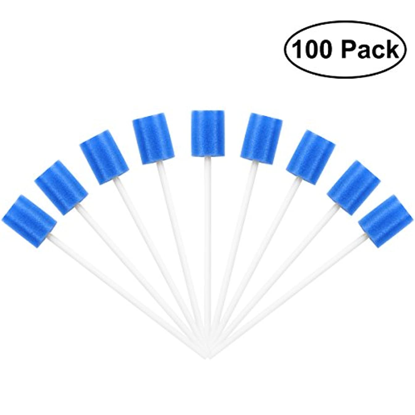 競合他社選手ピルファー亡命ROSENICE Mouth Sponges Dental Swabs 100Pcs Disposable Oral Care Swabs (Blue)