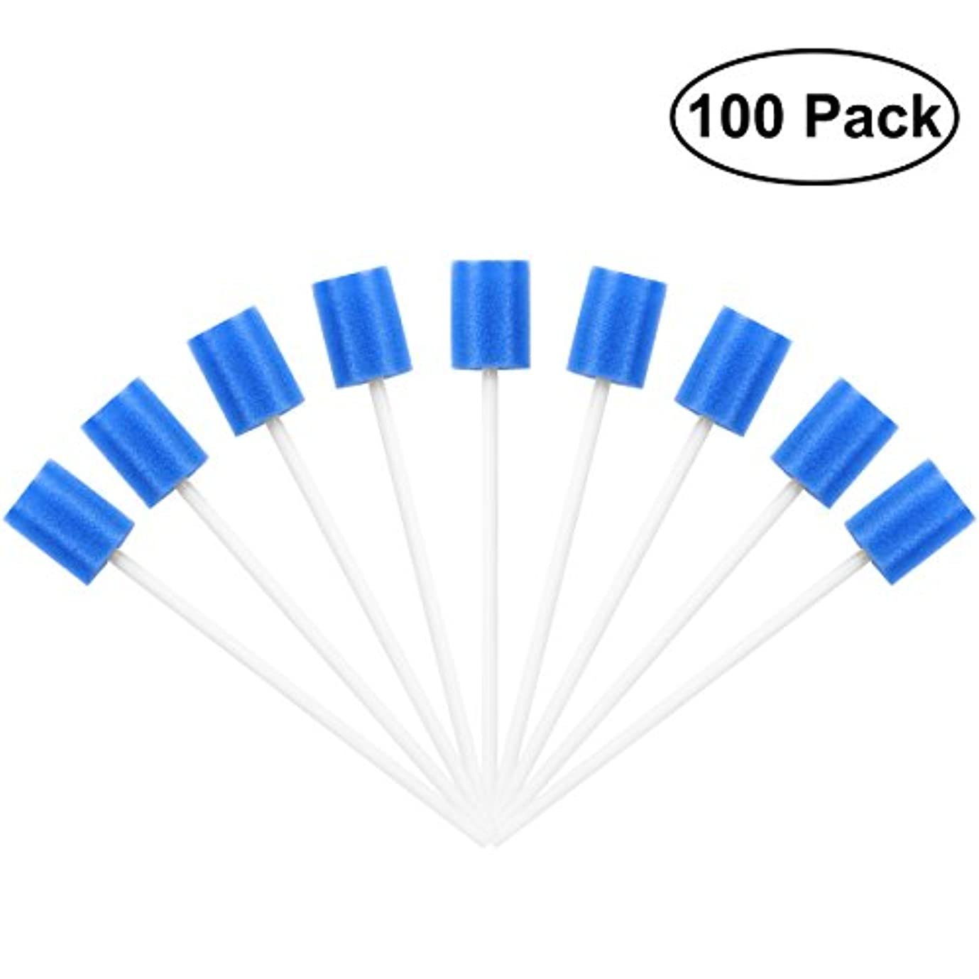飲料起きて事業内容ROSENICE Mouth Sponges Dental Swabs 100Pcs Disposable Oral Care Swabs (Blue)