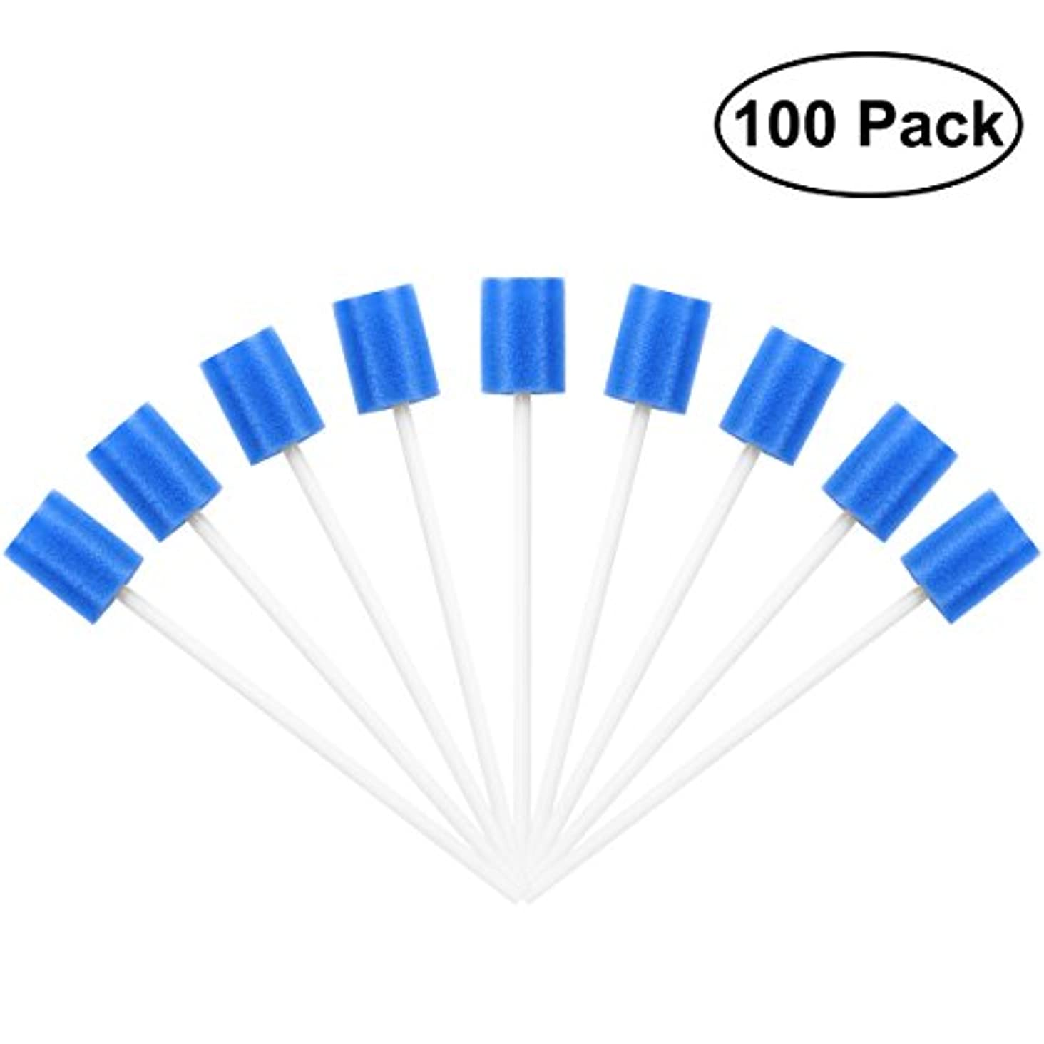 計算可能リズムデザートROSENICE Mouth Sponges Dental Swabs 100Pcs Disposable Oral Care Swabs (Blue)