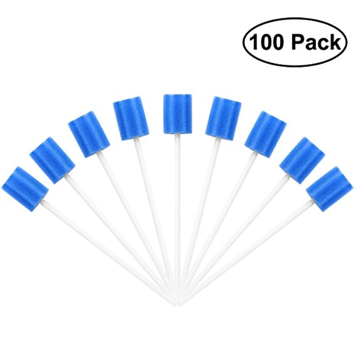 旅大騒ぎばかROSENICE Mouth Sponges Dental Swabs 100Pcs Disposable Oral Care Swabs (Blue)