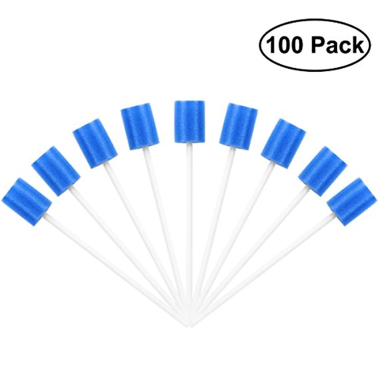 製作橋脚暗黙ROSENICE Mouth Sponges Dental Swabs 100Pcs Disposable Oral Care Swabs (Blue)