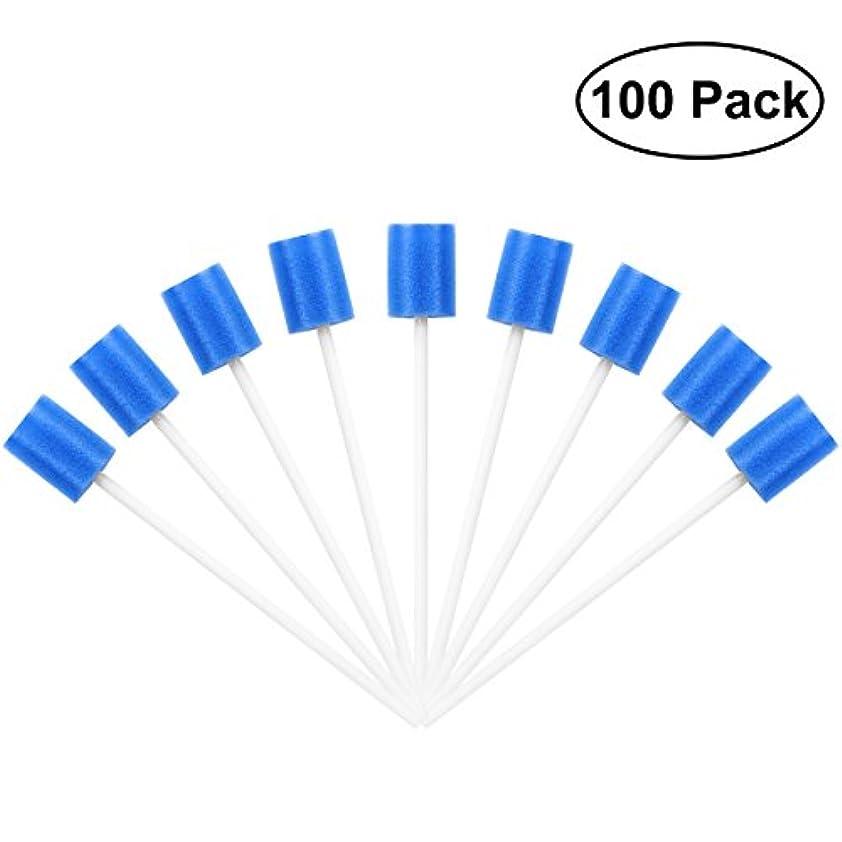 自己尊重修正するパンサーROSENICE Mouth Sponges Dental Swabs 100Pcs Disposable Oral Care Swabs (Blue)
