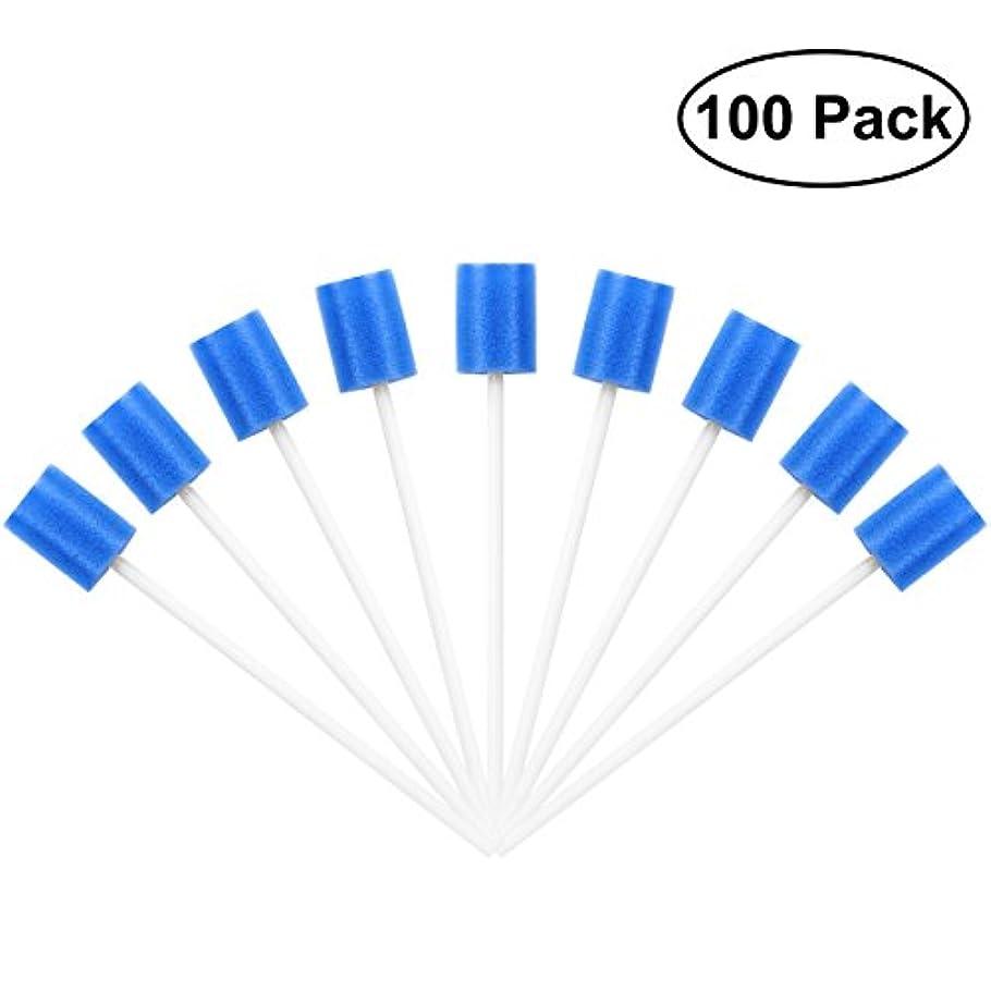じゃがいも理論リビジョンROSENICE Mouth Sponges Dental Swabs 100Pcs Disposable Oral Care Swabs (Blue)