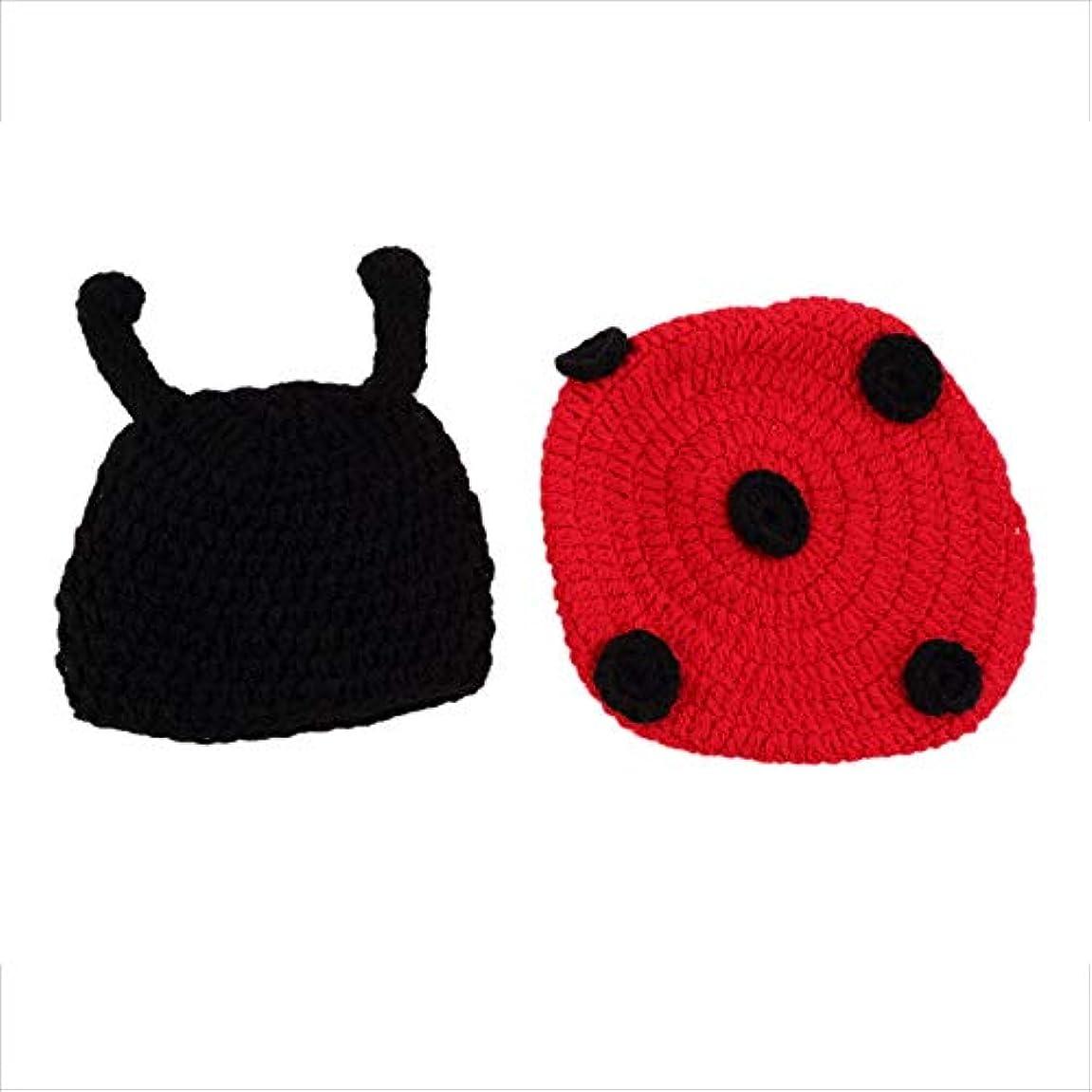 何故なの褐色並外れてドロップ無料新生児かぎ針編みニット写真写真プロップコスチューム帽子ビーニー衣装新しい到着 - ブラック&レッド - 1サイズ