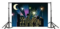 Yeele 10x 6.5ftスーパーヒーロー写真バックドロップビニールCartoon City Building Night FireworksデザインComic Book写真バックドロップベビーキッズ新生児誕生日パーティー写真の撮影Studio Prop