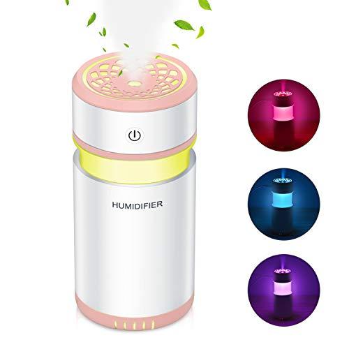 加湿器 卓上 アロマ 車載加湿器 ペットボトル 小型 除菌 空気浄化機 オフィス 寝室 車用 会社 旅行 家庭用 乾燥/空焚き防止 花粉症対策 USB 7色LEDライト ベッドサイドランプ 200ML