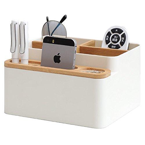 Saytay 化粧品収納ボックス 卓上メイクボックス 収納ケース 文房具収納ボックス リモコン収納ボックス コスメ収納ボックス 書斎、テーブル、寝室、居間、事務室用 (ホワイト)