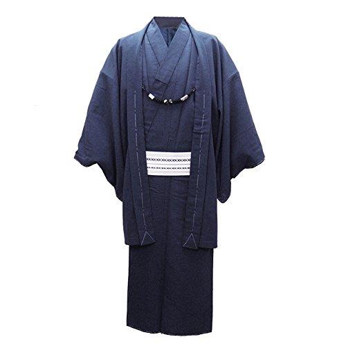 (オオキニ)大喜賑 着物 男 洗える着物 セット (袷着物+羽織) 紬 アンサンブル (3L,【1】紺色)