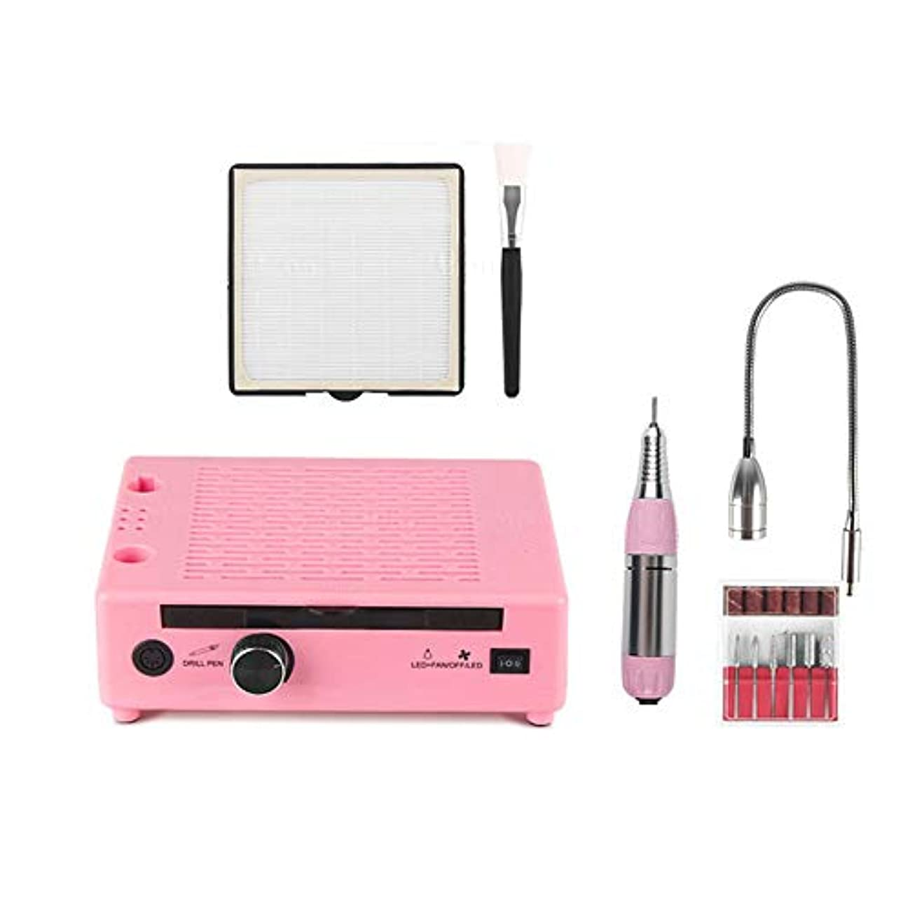 3 IN 1電気ネイルドリルマニキュアペディキュアマシンネイルバキュームクレンザー集塵機LEDランプ電気ネイルファイル